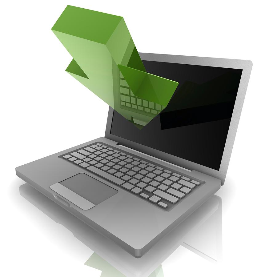 Bild | Grön Pil in mot en dator