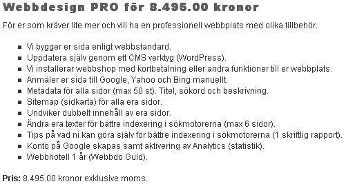 Tjänst - Webbdesign pro