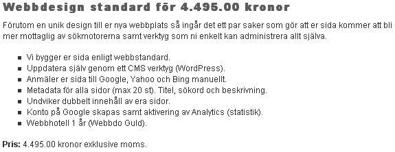 Tjänst - Webbdesign standard