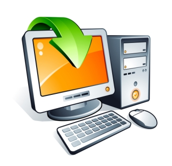 Orange dator som uppgraderas