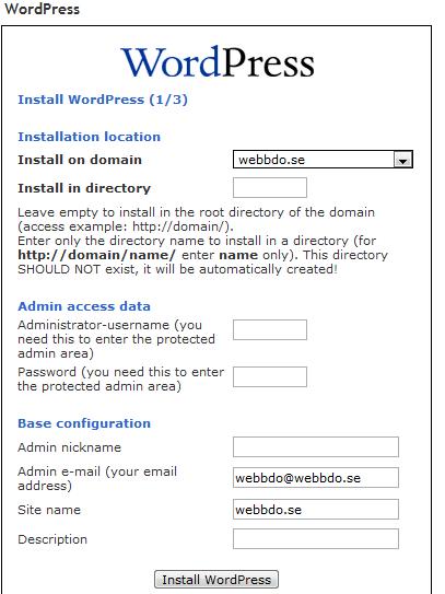 Guide över hur man installerar WordPress i cPanel