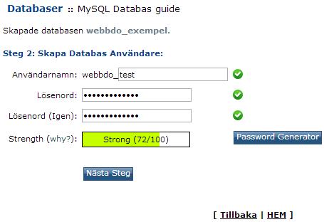 Användarnamn och lösenord för databasen