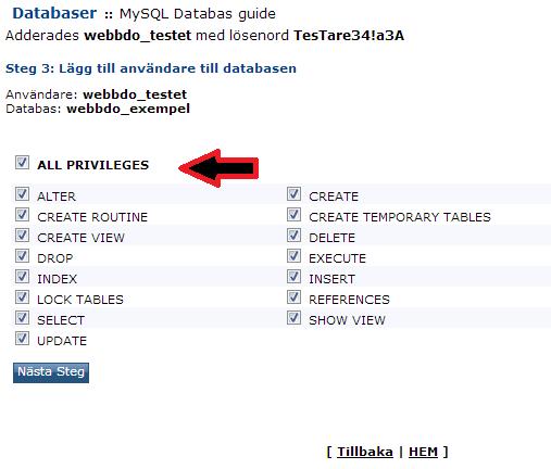 Bild beskriver hur man tillåter allt i sin MySQL databas