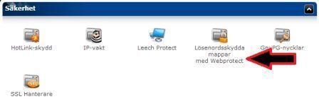 Bilden visar var man hittar Webprotect i cPanel