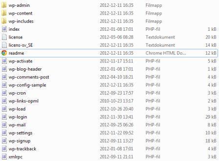 Filer som ska laddas upp via FTP för att kunna installera WordPress