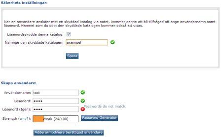 Skydda katalog/mapp med användarnamn och lösenord