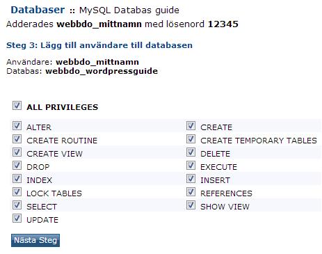 Bild som visar hur du ställer in din databas