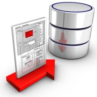 Bild på WordPress hemsida och en databas