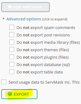 Exportera WordPress