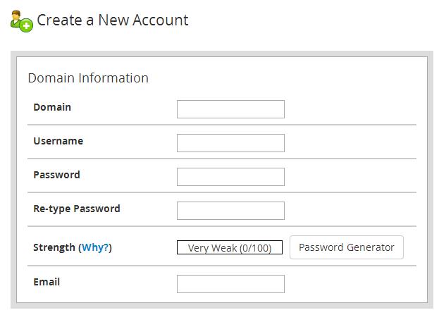 Skapa cPanel konto genom WHM