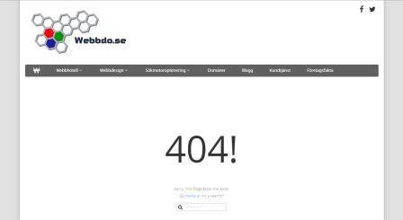 Exempel på 404 sida